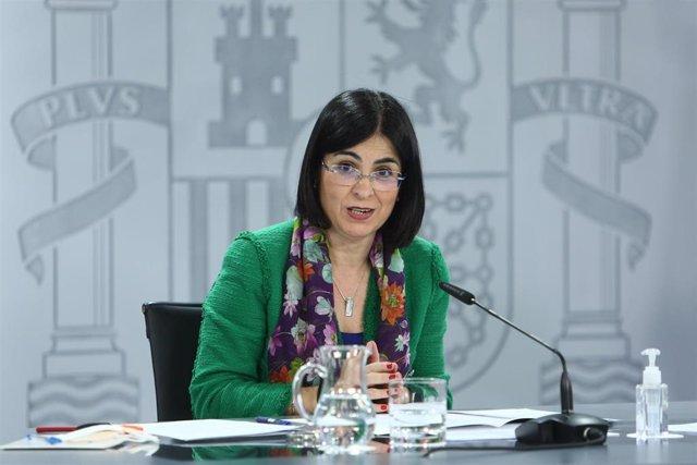 La ministra de Sanidad, Carolina Darias, durante una rueda de prensa tras la reunión del Consejo Interterritorial del Sistema Nacional de Salud, en Madrid (España),