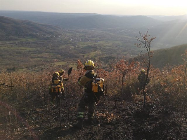 Incendio en en Valdepiélago (León).