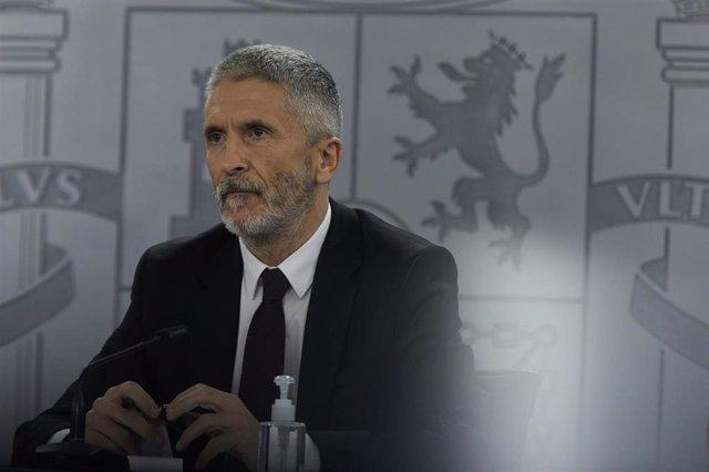 El ministro del Interior, Fernando Grande-Marlaska, durante una rueda de prensa tras la reunión del Consejo Interterritorial del Sistema Nacional de Salud, en Madrid (España), a 24 de marzo de 2021.