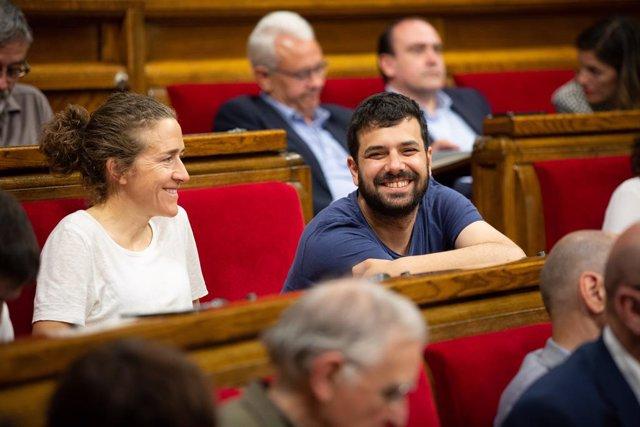 Archivo - Arxiu - Els republicans Núria Piques i Ruben Wagensberg al Parlament.