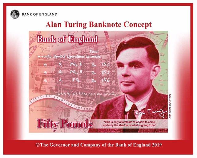 Archivo - Concepto del nuevo billete de 50 libras con la imagen del matemático Alan Turing que entrará en circulación en 2021