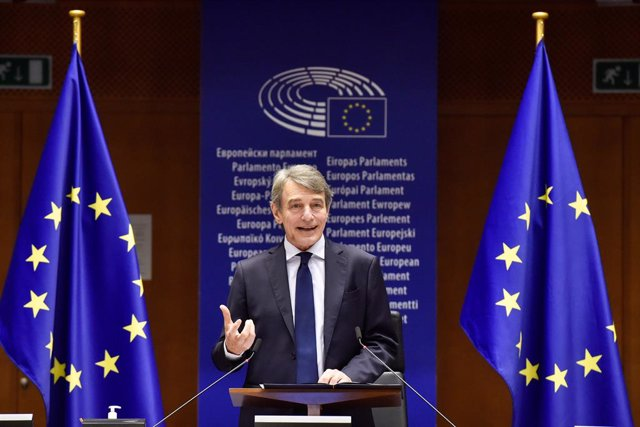 HANDOUT - 10 March 2021, Belgium, Brussels: European Parliament President David Sassoli speaks during the signing ceremony to launch the Conference of the Future of Europe at the European Parliament in Brussels. Photo: Eric Vidal/European Parliament/dpa -