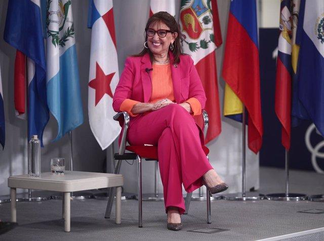 La secretaria general iberoamericana, Rebeca Grynspan, interviene durante un encuentro digital de Europa Press, en la sede de la Secretaría General Iberoamericana, en Madrid (España), a 25 de marzo de 2021.