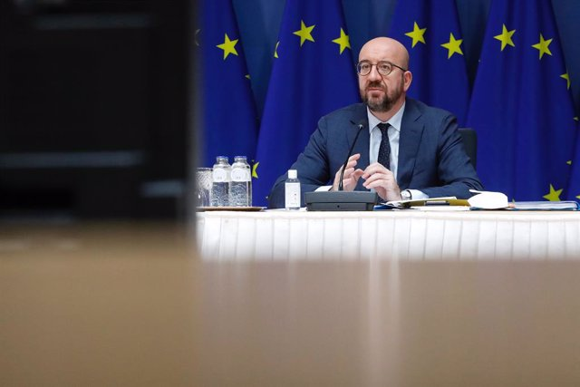 HANDOUT - 25 March 2021, Belgium, Brussels: European Council President Charles Michel participates in the online EU summit of heads of state and government at the European Council building. Photo: Dario Pignatelli/European Council/dpa - ATTENTION: editori