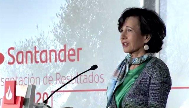 Archivo - La presidenta del Banco Santander, Ana Botín, durante la presentación de resultados del ejercicio 2020. En Boadilla del Monte, Madrid, el 3/2/21.