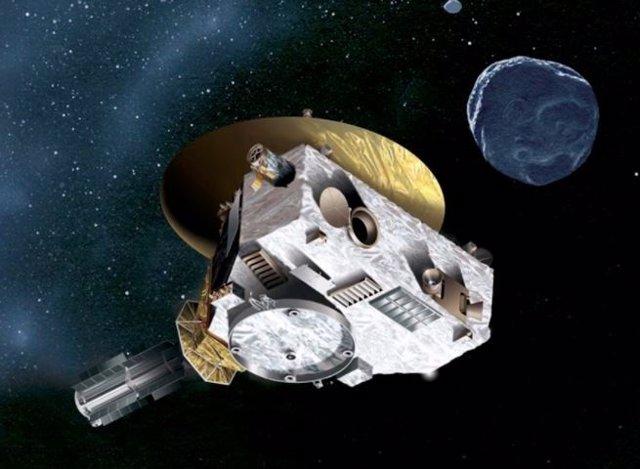 Concepto artístico de la nave espacial New Horizons acercándose a un objeto del cinturón de Kuiper.