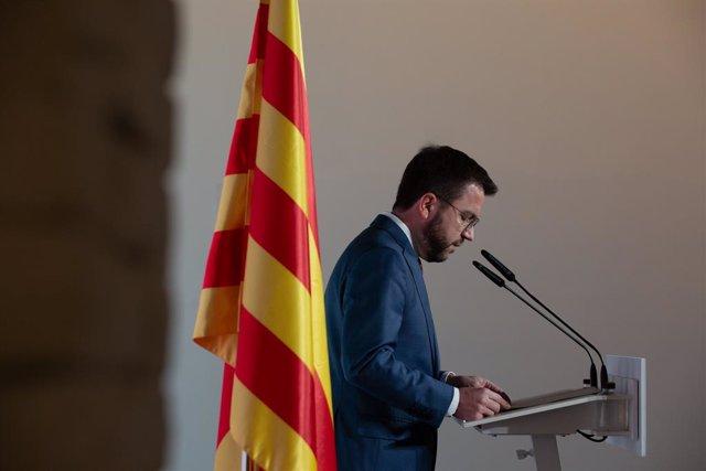 El vicepresident en funcions de la Generalitat, Pere Aragonès, en una roda de premsa (Arxiu)
