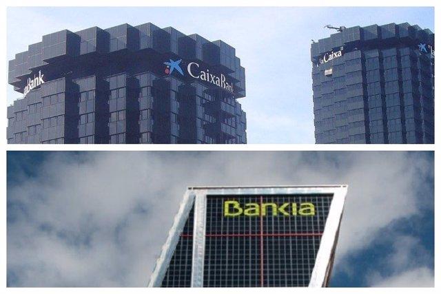 Archivo - CaixaBank y Bankia