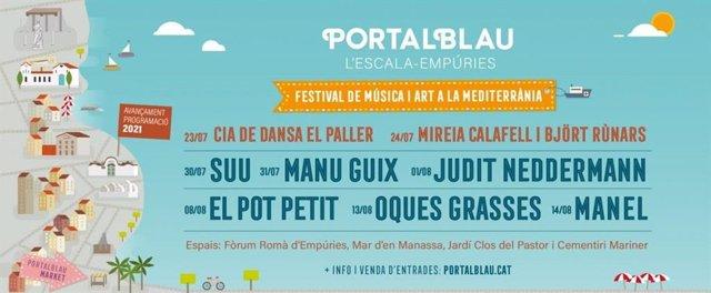 Cartell del festival Portalblau d'Empúries i l'Escala.