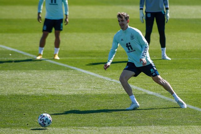 Diego Llorente in action during the FIFA World Cup 2022 Qatar qualifying training session celebrated at Ciudad del Futbol on March 24, 2021 in Las Rozas, Madrid, Spain.
