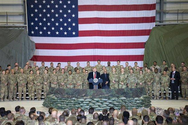 Archivo - Visita de Donald Trump a las tropas en Afganistán