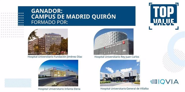 Centros que conforman la red asistencial de Hospitales Públicos gestionados por Quirónsalud en Madrid, galardonados en los Premios TOP Value.