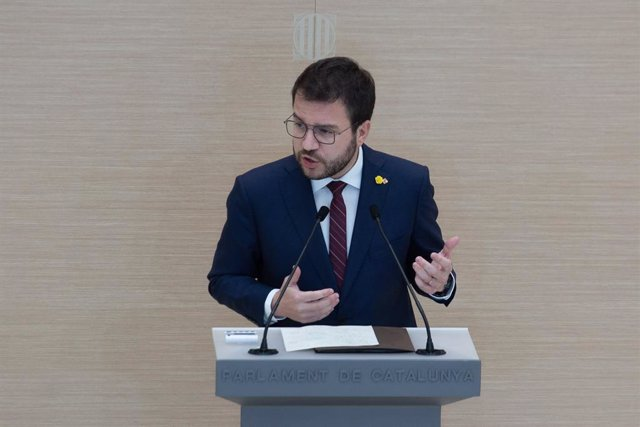 El candidat a la presidència de la Generalitat, Pere Aragonès, en el ple d'investidura.