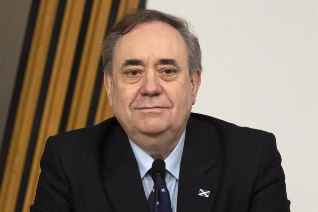 26 February 2021, United Kingdom, Edinburgh: Former Scottish first minister Alex Salmond gives evidence to a Scottish Parliament Harassment committee, at Holyrood in Edinburgh, examining the handling of harassment allegations against him. Photo: Andy Buch
