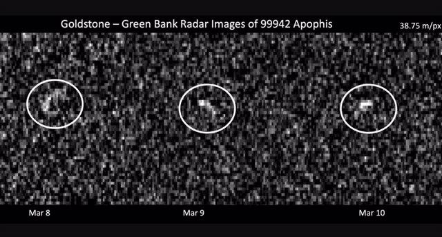 Imágenes de radar de Apophis tomadas durante su aproximación a la Tierra a principios de marzo de 2021