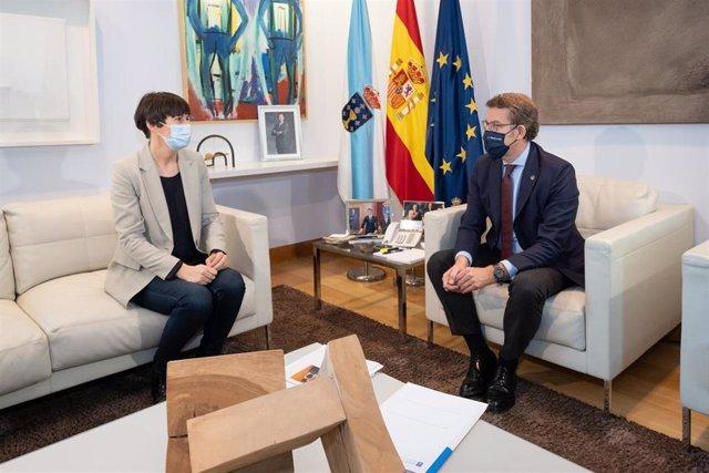 El presidente de la Xunta, Alberto Núñez Feijóo, se reúne con la portavoz nacional del BNG y líder de la oposición, Ana Pontón.