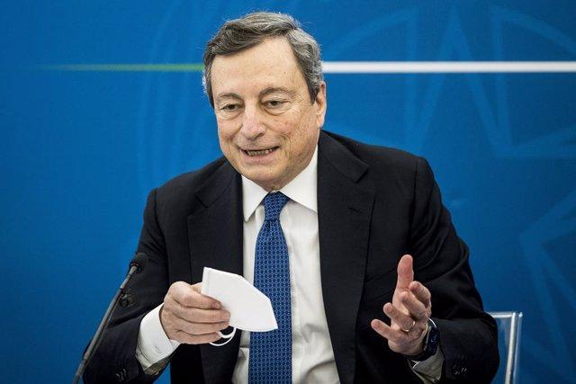 26 March 2021, Italy, Rome: Italian Prime Minister Mario Draghi holds a press conference on the current situations regarding the coronavirus pandemic. Photo: Roberto Monaldo/LaPresse via ZUMA Press/dpa