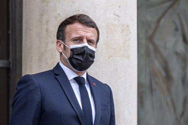 22 March 2021, France, Paris: French President Emmanuel Macron awaits the arrival of the Albanian Prime Minister Edi Rama ·prior to a meeting at the Elysee Palace. Photo: Sadak Souici/Le Pictorium Agency via ZUMA/dpa