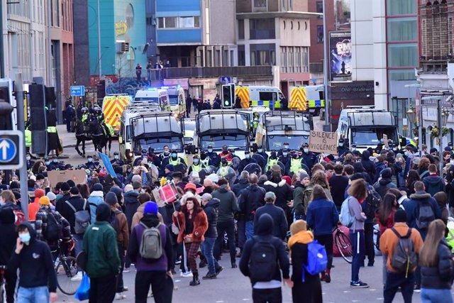 Protestes contra la nova llei policial a Bristol, el Regne Unit