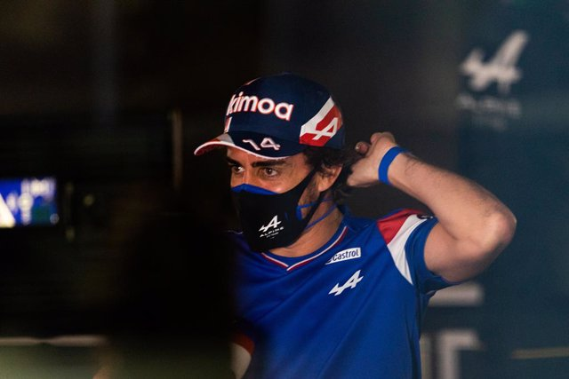 ALONSO Fernando (spa), Alpine F1 A521, portrait during Formula 1 Gulf Air Bahrain Grand Prix 2021 from March 26 to 28, 2021 on the Bahrain International Circuit, in Sakhir, Bahrain - Photo Frédéric Le Floc?h / DPPI