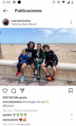 Publicación de Instagram del futbolista Marcelo