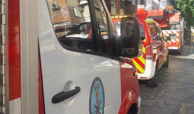 Despliegue de camiones de bombero