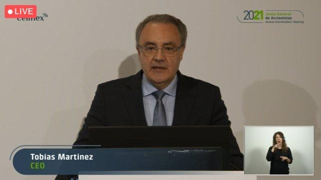 El consejero delegado de Cellnex, Tobías Martínez, en la Junta General de Accinistas 2021