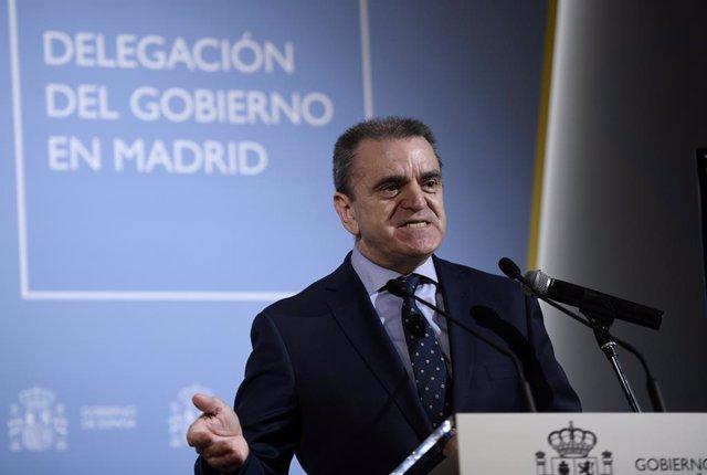 El delegado del Gobierno en Madrid, José Manuel Franco, comparece en rueda de prensa en la sede de la Delegación del Gobierno en Madrid (España), a 4 de marzo de 2021. Franco comparece para explicar la decisión de la Delegación del Gobierno en Madrid de p