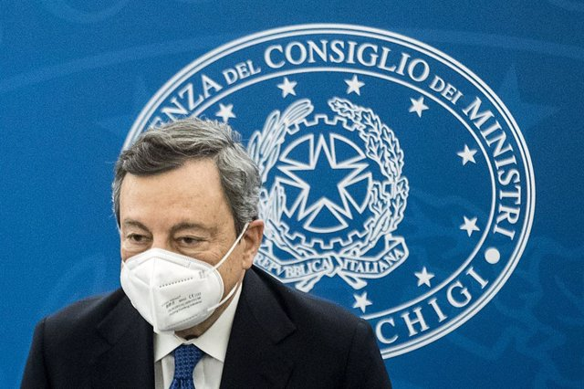 26 March 2021, Italy, Rome: Italian Prime Minister Mario Draghi holds a press conference on the current situations regarding the coronavirus pandemic. Photo: Roberto Monaldo/LaPresse via ZUMA Press/dpa