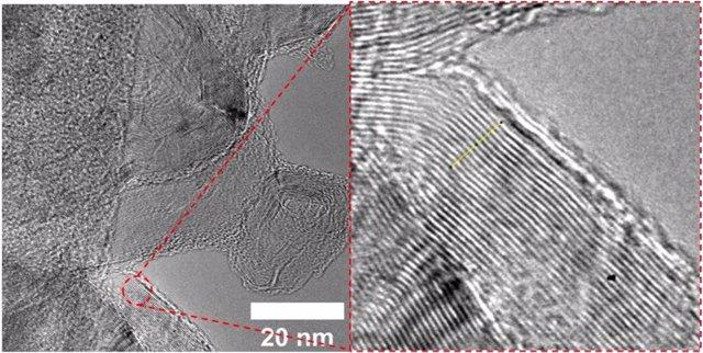 Una imagen de microscopio electrónico de transmisión muestra el espaciamiento entre capas de grafeno turboestrático producido en la Universidad de Rice al destellar el negro de carbón de los neumáticos de caucho desechados con una descarga eléctrica.