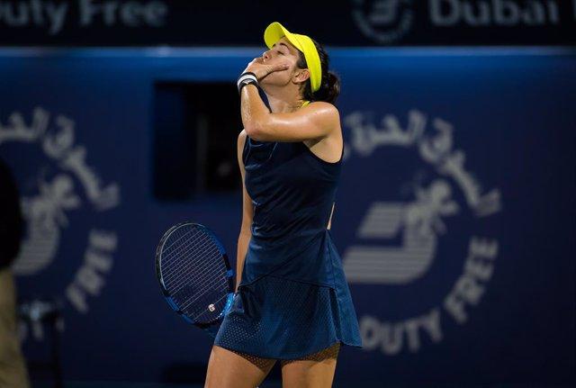 Garbine Muguruza of Spain reacts to winning the final of the 2021 Dubai Duty Free Tennis Championships WTA 1000 tournament