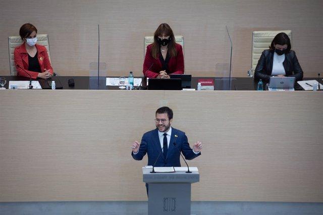 El candidat d'ERC a la presidència de la Generalitat, Pere Aragonès, en la segona volta de la seva investidura al Parlament.