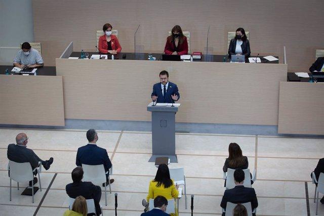 El candidat a la presidència de la Generalitat, Pere Aragonès, en el discurs de la segona volta del ple d'investidura al Parlament.