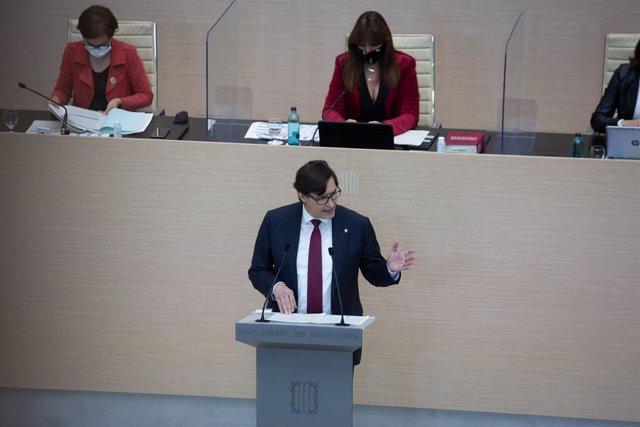 El president del PSC al Parlament, Salvador Illa, en la segona volta del ple d'investidura. 30 de març del 2021, Catalunya (Espanya).