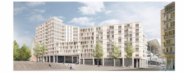 Visualització prèvia de com serà la promoció de pisos a l'entorn de les Glòries