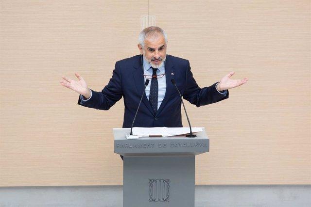 El líder de Cs a Catalunya, Carlos Carrizosa, en la segona volta del ple d'investidura el 30 de març del 2021 al Parlament de Catalunya, a Barcelona.