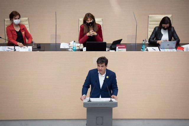El diputat d'ERC Sergi Sabrià en la segona sessió del ple d'investidura de Pere Aragonès (ERC) al Parlament.