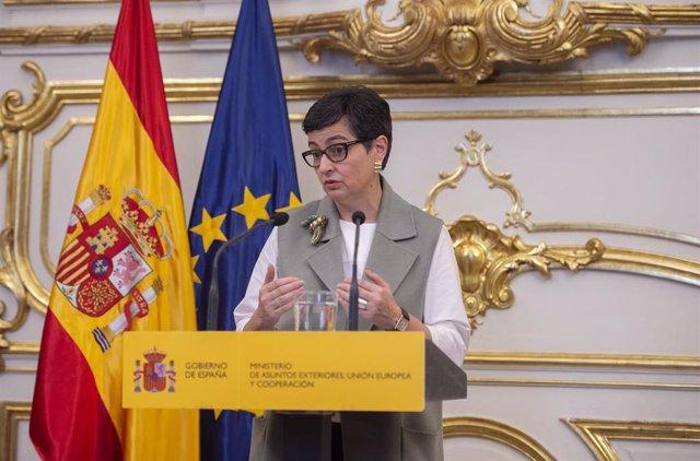 La ministra de Asuntos Exteriores, Arancha González Laya, interviene durante un acto en el que el Equipo Técnico Español de Ayuda y Respuesta a Emergencias (START) se pone a disposición de Sanidad, en Madrid (España), a 30 de marzo de 2021.
