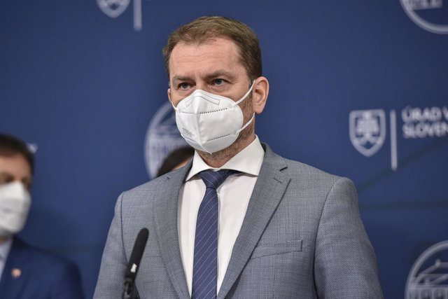 28 March 2021, Slovakia, Bratislava: Slovakian Prime Minister Igor Matovic speaks during a press conference at the Slovak Government Office after a meeting of the coalition parties. Matovic made the surprise announcement on Sunday that he was resigning an