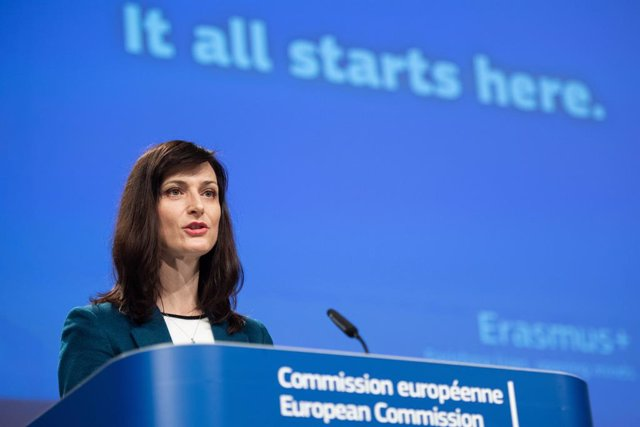 HANDOUT - 25 March 2021, Belgium, Brussels: European Commissioner for Innovation, Research, Culture, Education and Youth Mariya Gabriel holds a press conference at the European Commission in Brussels. Photo: Jennifer Jacquemart/European Commission/dpa - A