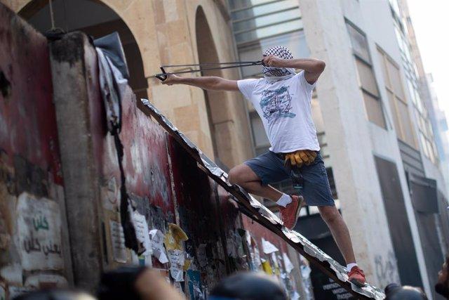 Manifestación contra el Gobierno en Beirut, Líbano, en agosto de 2020.