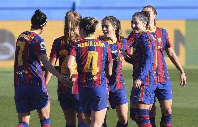 Las jugadores del Barça Femení en el partido de ida de los cuartos de final de la Liga de Campeones ante el Manchester City (3-0)