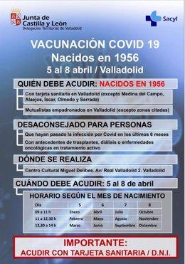 Información sobre la vacunación de población general a partir del día 5 de abril en Valladolid.