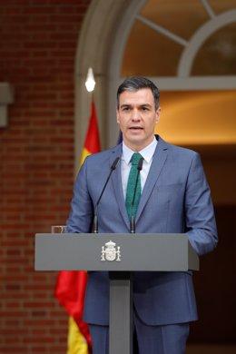 El president del Govern central, Pedro Sánchez, compareix davant els mitjans per informar sobre els canvis en l'executiu. Madrid (Espanya), 30 de març del 2021.