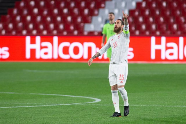 Sergio Ramos of Spain during the FIFA World Cup 2022 Qatar qualifying match between Spain and Greece at Estadio Nuevo Los Carmenes on March 25, 2021 in Granada, Spain.