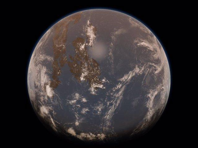 Representación de un artista de la Tierra durante el eón Arcaico, con una atmósfera brumosa, pocas masas de tierra y un océano global.