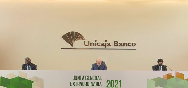 Junta de accionistas de Unicaja Banco, celebrada en Málaga el 31 de marzo de 2021.