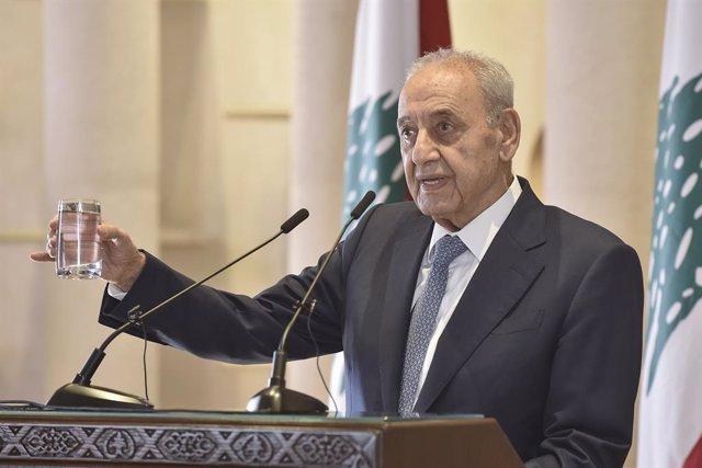 Archivo - El presidente del Parlamento de Líbano, Nabih Berri