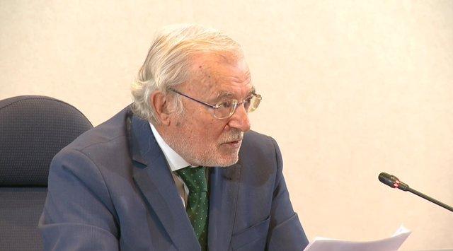 El presidente de Unicaja Banco, Manuel Azuaga, en la junta general ordinaria de accionistas de la entidad, celebrada en Málaga el 31 de marzo de 2021.