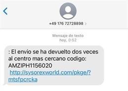 SMS con origen alemán que dirige a una web fraudulenta